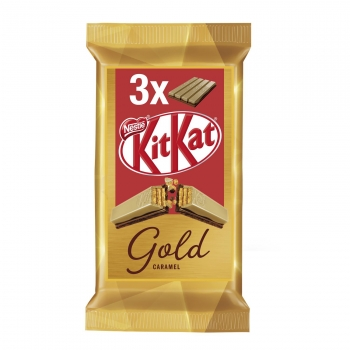 Barrita de galleta crujiente cubierta de caramelo gold Nestlé Kit Kat pack de 3 unidades de 41,5 g.
