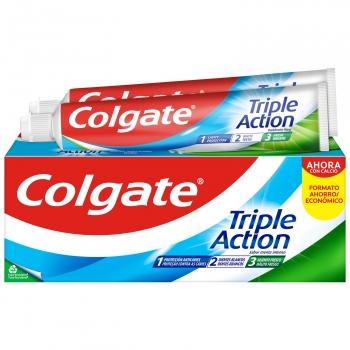 Dentífrico triple action menta original Colgate pack de 2 unidades de 75 ml.