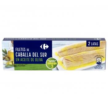 Filetes de caballa del sur en aceite de oliva Carrefour sin lactosa pack de 2 latas de 65 g.