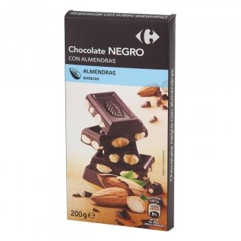 Chocolate negro con almendras enteras Carrefour 200 g.
