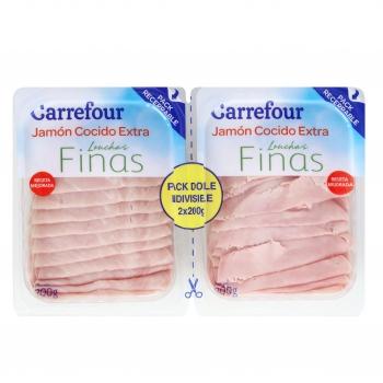 Jamón cocido extra lonchas finas Carrefour pack de 2 unidades de 200 g.
