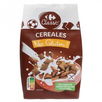 Cereales rellenos de cacao y avellanas Carrefour sin gluten 400 g.