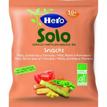 Snack de maíz, guisantes y tomate desde 10 meses ecológico Hero Solo 15 g.