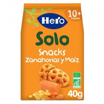 Snack zanahorias y maíz desde 10 meses ecológico Hero Solo 40 g.