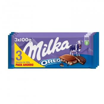 Chocolate relleno de galleta Oreo Milka pack de 3 unidades de 100 g.