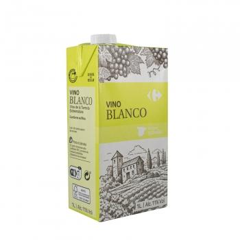 Vino blanco de mesa Carrefour brik 1 l.