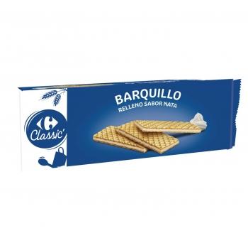 Galletas de barquillo rellenas sabor nata Carrefour 210 g.