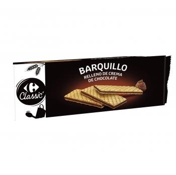 Galletas de barquillo rellena sabor chocolate Carrefour 210 g.