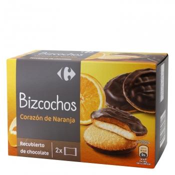 Bizcochos con naranja con una fina capa de chocolate Carrefour 300 g.