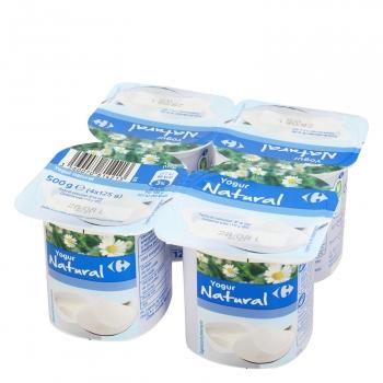 Yogur natural Carrefour pack de 4 unidades de 125 g.