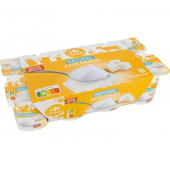 Yogur azucarado natural Carrefour pack de 8 unidades de 125 g.