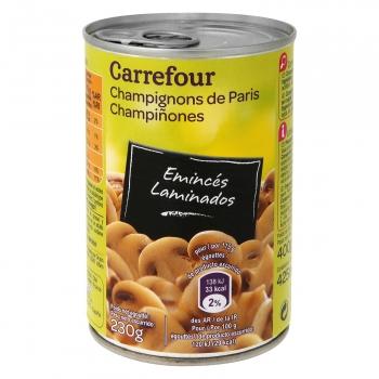Champiñones laminados Carrefour 230 g.