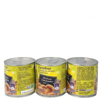 Champiñones laminados Carrefour pack de 3 unidades de 115 g.