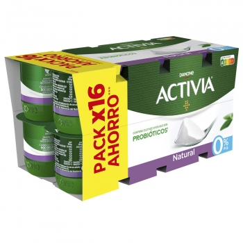 Yogur bífidus desnatado natural Activia pack de 16 unidades de 120 g.
