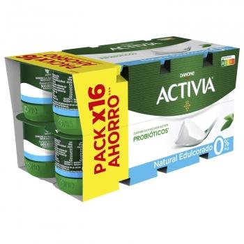 Yogur bífidus desnatado natural edulcorado Activia pack de 16 unidades de 120 g.