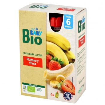 Preparado de fresa sin azúcar añadido desde 6 meses ecológico My Carrefour Baby Bio sin gluten pack de 4 bolsitas de 100 g.