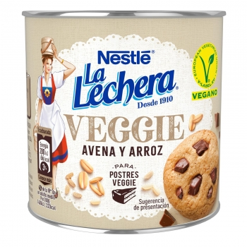Preparado vegetal de avena y arroz para postres Veggie Nestlé-La lechera sin gluten 370 g.