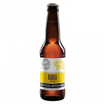 Cerveza artesana Carrefour Sensation Rubia sin filtrar botella 33 cl.