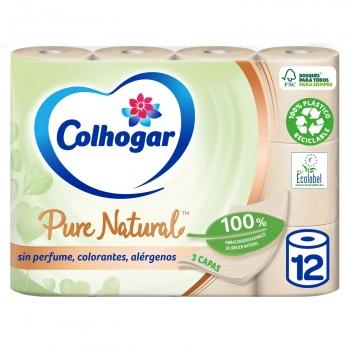 Papel higiénico fibras naturales Pure Natural Colhogar 12 rollos.