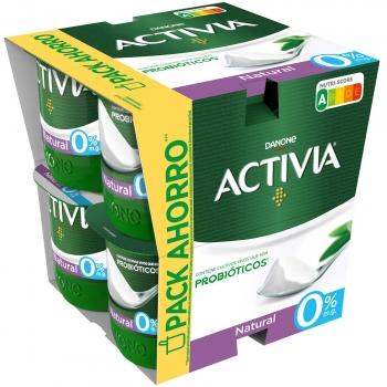 Yogur bífidus desnatado natural Danone Activia pack de 8 unidades de 120 g.
