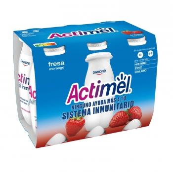 Yogur L.Casei líquido con fresa Danone Actimel sin gluten pack de 6 unidades de 100 g.