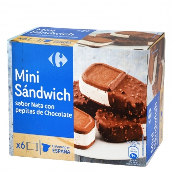 Mini sandwich de nata con pepitas de chocolate Carrefour 6 ud.