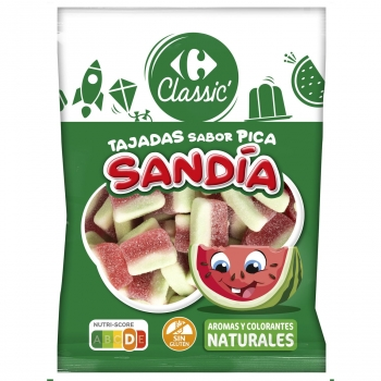 Caramelos de goma tajada de Sandía Carrefour Classic sin gluten 200 g.