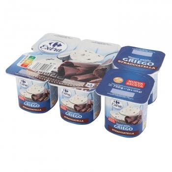 Yogur griego con stracciatella Carrefour Extra sin gluten pack de 6 unidades de 125 g.