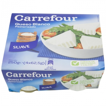 Queso fresco de Burgos Carrefour pack de 4 unidades de 62,5 g.