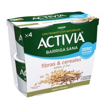 Yogur bífidus desnatado con avena y lino sin azúcar añadido Danone Activia pack de 4 unidades de 120 g.