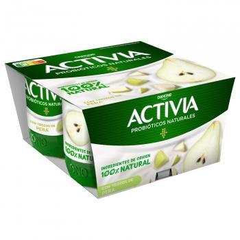 Yogur bífidus con pera Danone Activia sin gluten pack de 4 unidades de 120 g.
