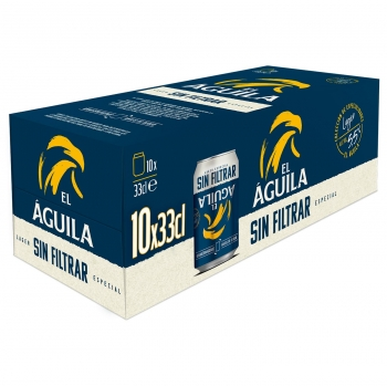 Cerveza El Águila sin filtrar pack de 10 latas de 33 cl.