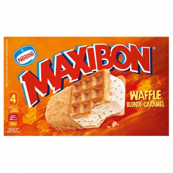 Sandwich de nata con caramelo Maxibon Waffle Nestlé 4 ud.