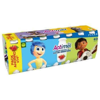 Yogur L.Casei líquido con fresa Danone - Actimel kids pack de 14 unidades de 100 g.