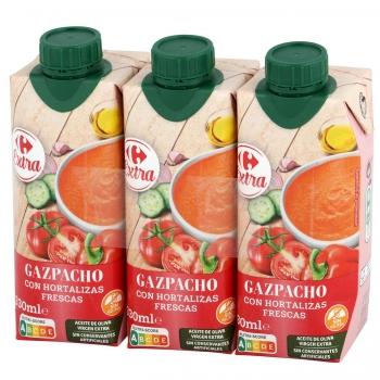 Gazpacho con aceite de oliva virgen extra Carrefour sin gluten pack de 3 unidades de 330 ml.