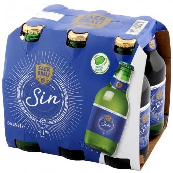 Cerveza Carrefour Lager sin alcohol pack de 6 botellas de 25 cl.