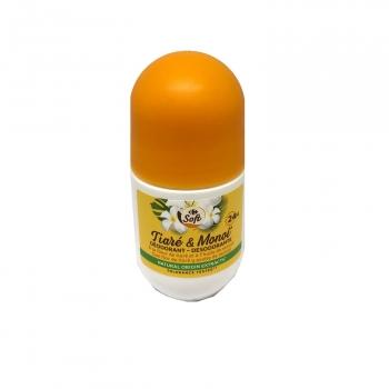 Desodorante roll-on flor de tiaré y monoi Carrefour soft 50 ml.