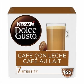 Café con leche en cápsulas Nescafé Dolce Gusto sin gluten pack de 16 unidades de 10 g.
