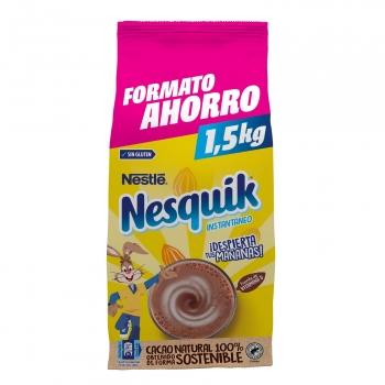 Cacao soluble instantáneo Nestlé Nesquik sin gluten y sin lactosa bolsa de 1,5 kg.