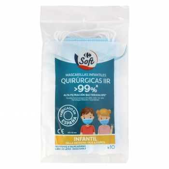 Mascarilla quirúrgica desechable tipo IIR infantiles Soft Carrefour pack de 10 ud.
