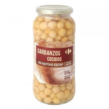 Garbanzos cocidos categoría extra Carrefour 400 g.