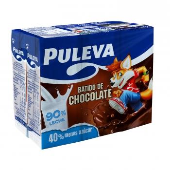 Batido de chocolate Puleva sin gluten pack de 6 briks de 200 ml.