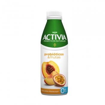 Yogur bífidus líquido desnatado melocotón y maracuyá Danone Activia 550 g.