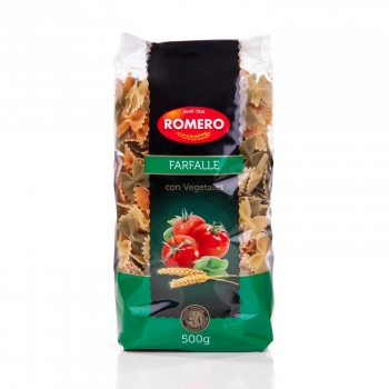 Farfalle con vegetales Romero 500 g.