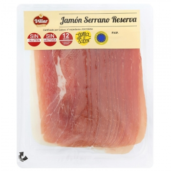 Jamón serrano reserva en lonchas Villar sin gluten y sin lactosa 180 g