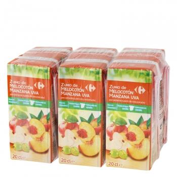 Zumo de melocotón, manzana y uva Carrefour pack de 6 briks de 20 cl.