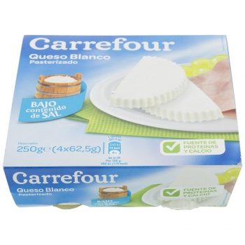 Queso fresco de Burgos bajo contenido de sal Carrefour pack de 4 unidades de 62,5 g.
