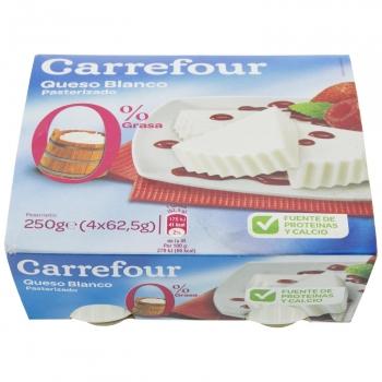 Queso fresco desnatado de Burgos Carrefour pack de 4 unidades de 62,5 g.