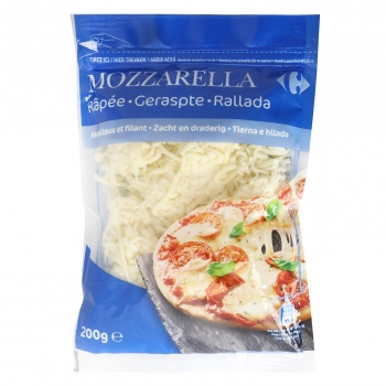 Queso rallado mozzarella Carrefour sin gluten 200 g.