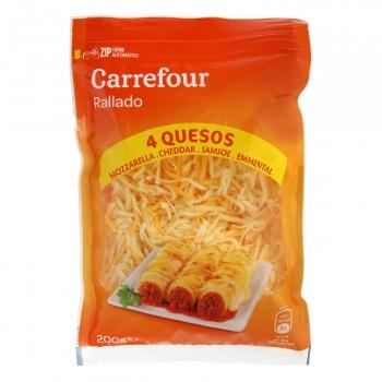 Queso rallado cuatro quesos Carrefour sin gluten 200 g.